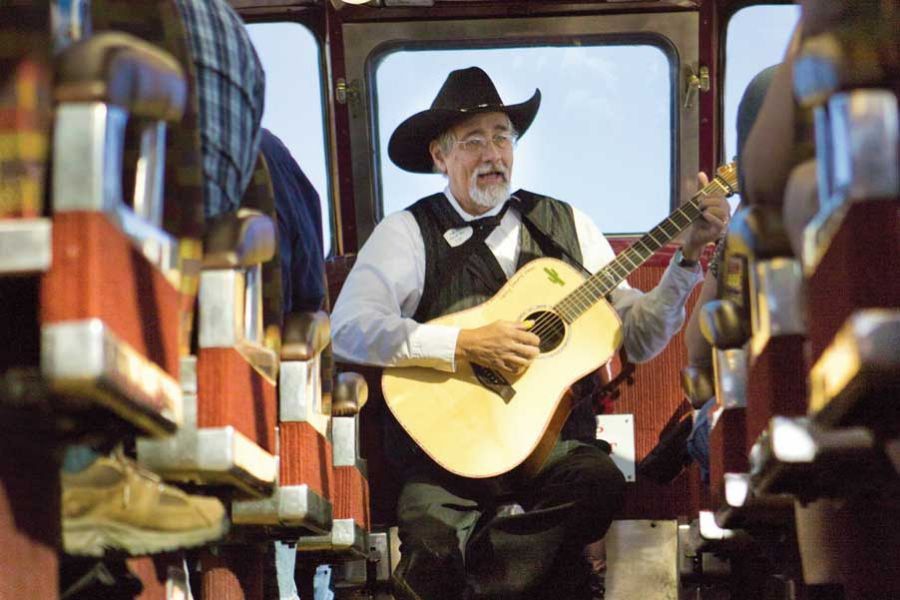 Grand Canyon Railway musician in dome aisle